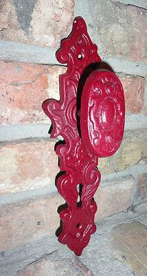 Cast Iron Door knob, Skeleton Key, Door Pull, Vintage inspired, Barn Red Finish