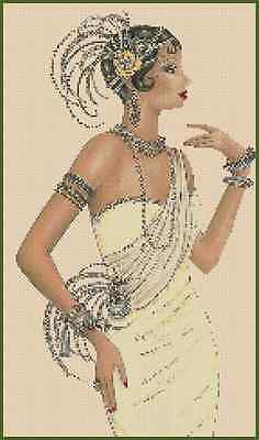 Art Deco Flapper Lady in Yellow Dress Counted Cross Stitch No. 1-27b