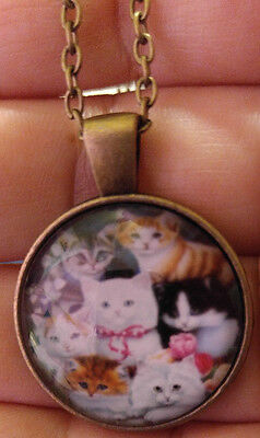 Cat Cabochon bronze Glass Chain Pendant Necklace Cute Holiday Gift