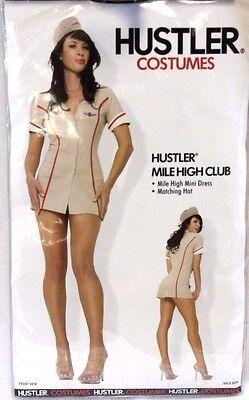 NEW Womens HUSTLER Sexy Mile High Club Adult Dress Up Halloween Costume ](Mile High Flight Attendant Costume)