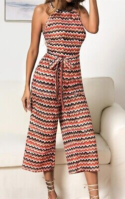 New Arrival Women Summer Colorful wavy print wide leg Fashion Elegant jumpsuit Z