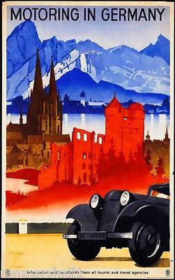 1920s Motoring in Germany German Europe European Travel Art Poster Advertisement