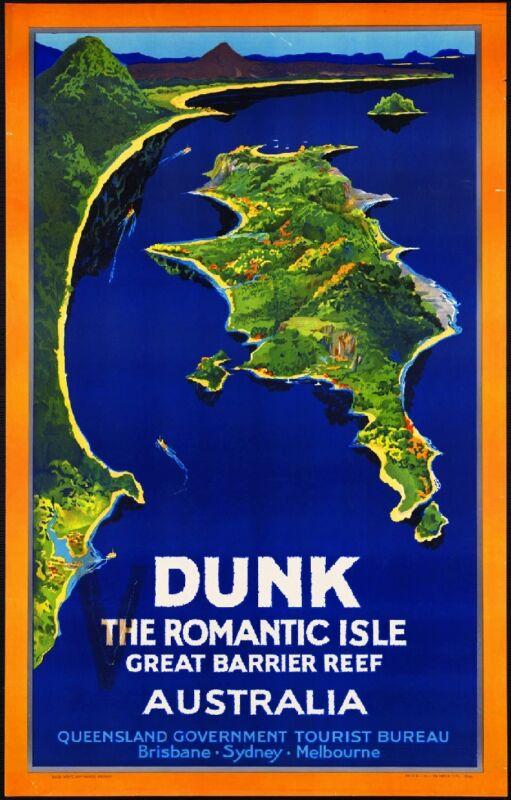 Dunk, The Romantic Isle Australia Vintage Travel Advertisement Art Poster
