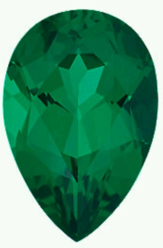 Chatham emerald pear shape 5x7 nice cut and color