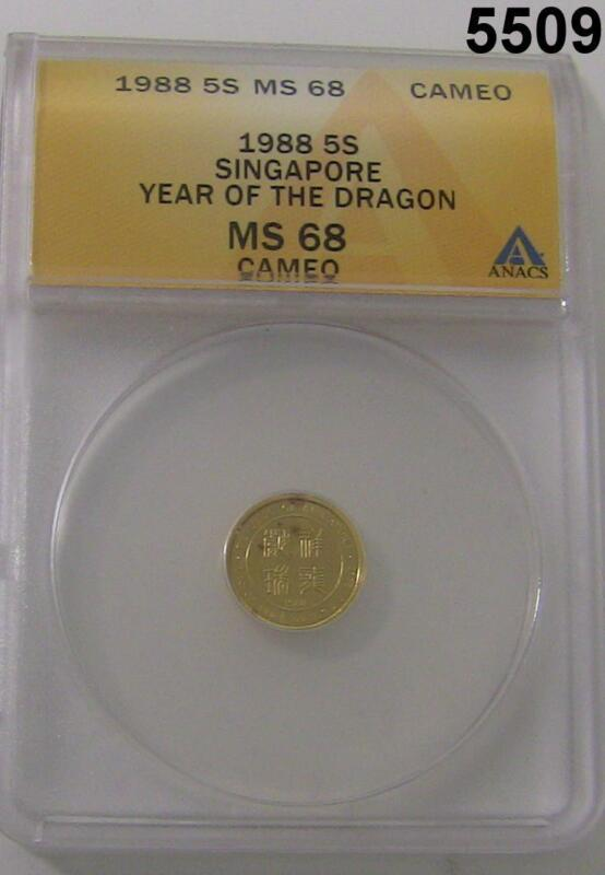 1988 5 SINGOLD SINGAPORE YEAR OF THE DRAGON ANACS CERTIFIED MS68 CAMEO #5509