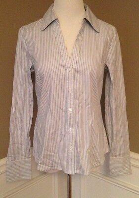 (Ann Taylor Loft 4 Blue/ Beige Pinstripe Button Down Dress Shirt)