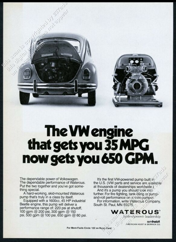 1981 VW Beetle car & engine photo Waterous fire engine pump vintage print ad