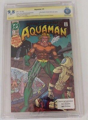 CBCS Graded 9.8 NM Aquaman No. 1, 1991,  with Remark JLA, Signed Jason Momoa
