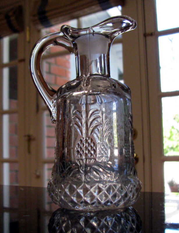 Heisey Glass PLANTATION w pineapples diamonds Cruet, sans stopper ca 1948-1956