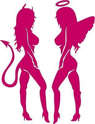 Sexy Angel Devil Mudflap Girls Trucker Window Mirror Vinyl Car Decal Sticker