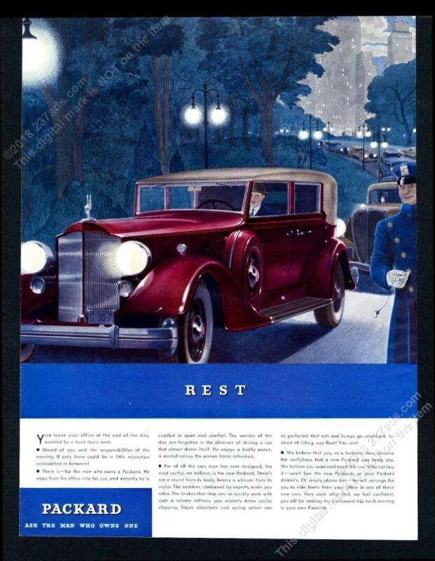 1934 Packard 12 sedan red car park drive night art BIG vintage print ad