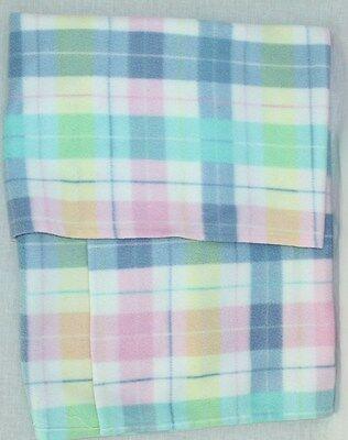 Blue Pink Yellow Green Plaid Fleece Receiving BLANKET Soft Plush Baby (Green Fleece Baby Receiving Blanket)