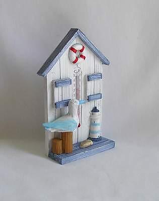 Thermometer Stand (Standthermometer mit Möwe und Leuchtturm-Deko maritmer Art  ca. 14 cm  )
