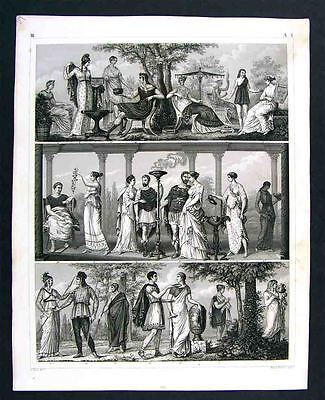 1849 Engraving Print - Ancient Greek in Costume Fashion