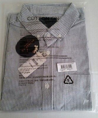(Brunswick Garments by Cotton On Men Button up fine stripe Short Sleeve Shirt  M)