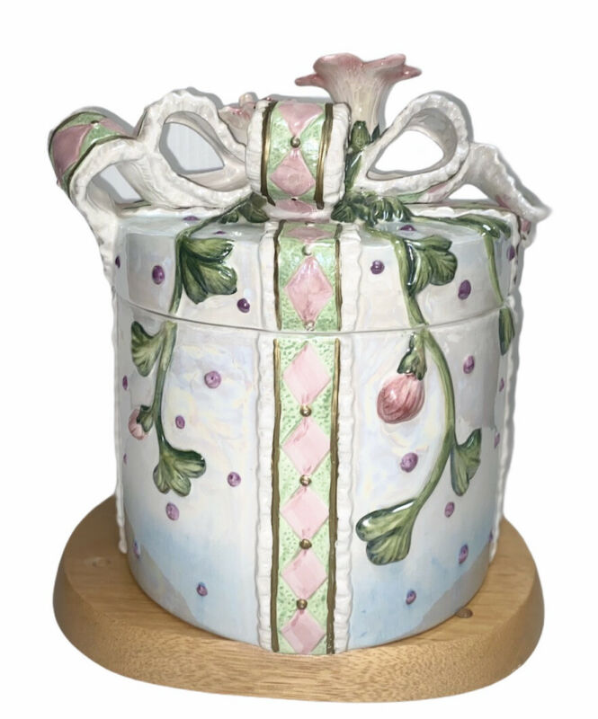 Gift Cookie Jar with Rose and Ribbon Covered Lid.