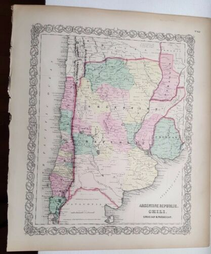 VERY NICE 1856 Colored Map - ARGENTINE REPUBLIC, CHILE, URUGUAY & PARAGUAY