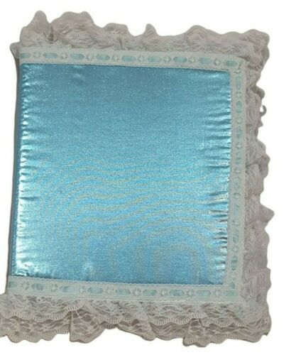 Vintage 80s decorated picture album full page blue lace trimmed