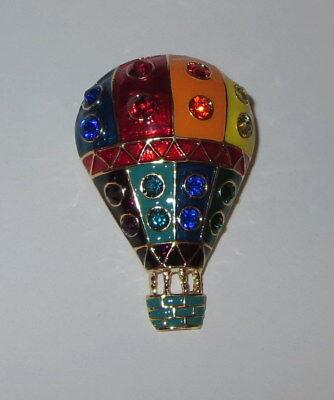 Hot Air Balloon Pin Gold Tone Crystal Accents Basket New Jewelry Brooch  Crystal Hot Air Balloon