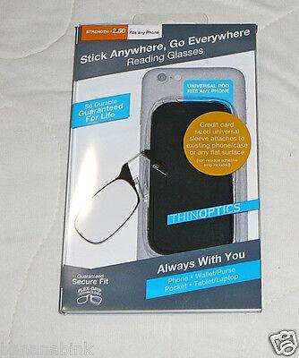 ThinOptics Reading Glasses Thin Attach to Phone Stick Anywhere Universal Case