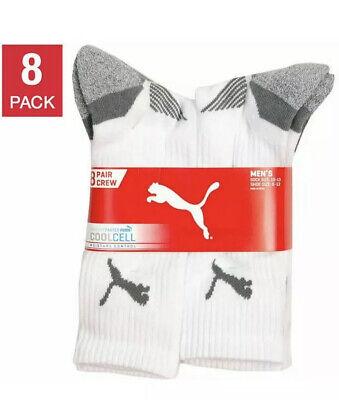 Puma Men's Crew Socks 8 pair pack White color NEW for shoe size 6-12