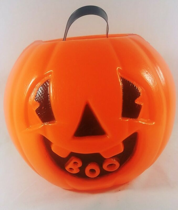 Vintage Halloween Plastic Blow Mold Pumpkin Jack-O-Lantern Candy Bucket Boo