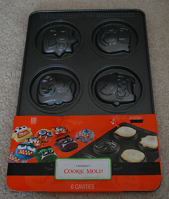 Halloween Monster Cookie Mold Baking Pan 6 Monster Heads Birthday Party Cookies