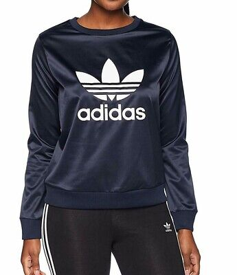 'Adidas Women's Sweater Navy Blue Size XS Pullover Logo Trefoil Crew $50 #781'
