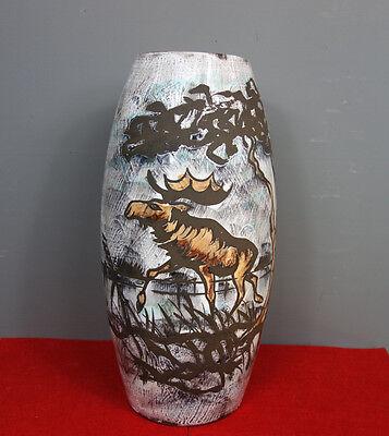Keramik - Bodenvase von Scheurich, 50 - 60er Jahre,  Tier Motiv Vase