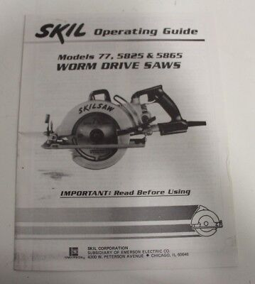 Skil Operating Guide Manual Instruction 77 5825 5865 Worm Drive Saws Parts List
