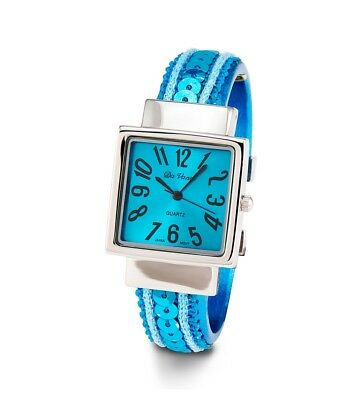 Ladies Turquoise Sequin Silver Tone Bangle Quartz Watch-d2873trq