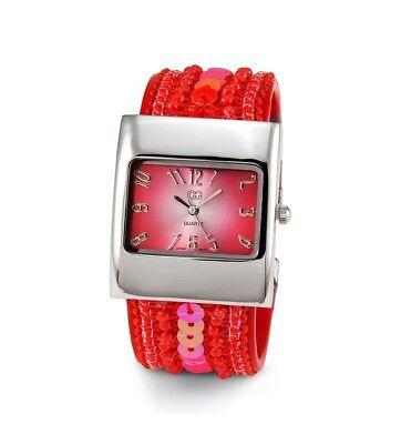 Ladies Red Sequin Silver Tone Bracelet Quartz Watch-d2872silred