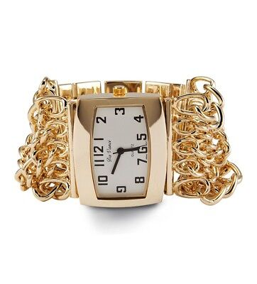 Ladies Gold Tone Link Adjustable Quartz Bracelet Watch-d2977gld ()