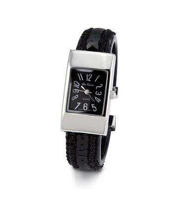 Women's Silver Tone Black Sequin Quartz Bracelet Watch-d2927silblk