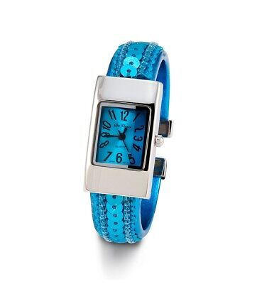 Ladies Turquoise Dial Sequin Silver Tone Bracelet Watch-d2927siltrq