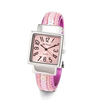 Ladies Silver Tone Pink Sequin Bangle Quartz Watch-d2873lpnk