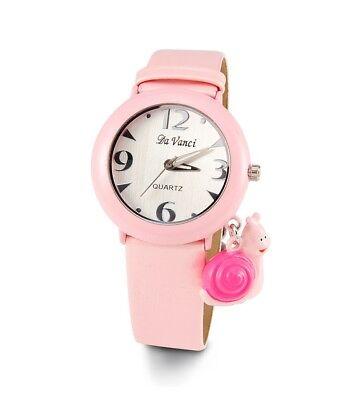 Ladies White Dial Pink Leather Band Quartz Wristwatch-d3130pnk