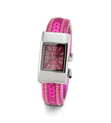 Ladies Pink Dial Sequin Silver Tone Bracelet Watch-d2927sildpnk