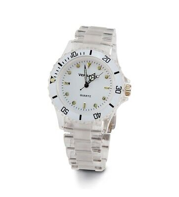 Ladies White & Clear Bracelet with White Face Fashion Watch-d3004whtl ()