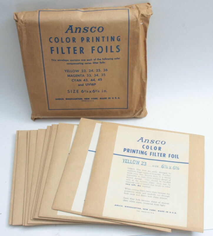 """Ansco Color Printing Filter Foils Set of 11 6 3/8"""" x 6 5/8"""" - SEALED VINTAGE F08"""