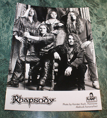 """RHAPSODY 5X7""""  OFFICIAL PROMO PIC 1997VERY RARE HTF OOP IMPORTMINT LIMITED ISSUE"""