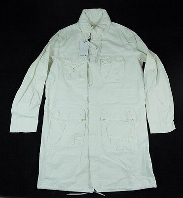 Lacoste Solid White Linen Blend Trench Coat $495 sz M BH2625 BNWT for sale  Shipping to India