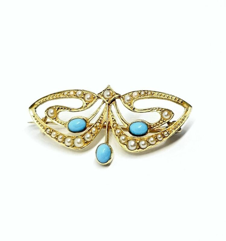 18ct Gold Antique Art Nouveau Whiplash Turquoise Seed Pearl Brooch