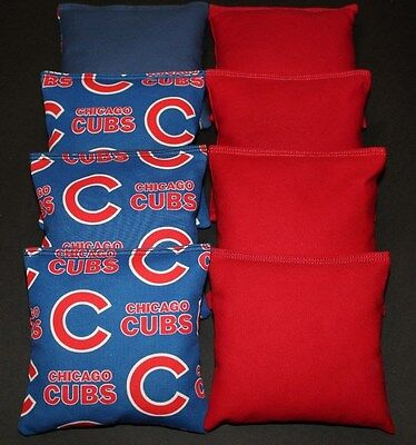 CORNHOLE BEAN BAGS made w CHICAGO CUBS Fabric ACA Regulation Toss T Game Bags
