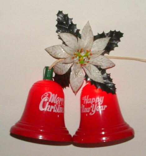 "VINTAGE ILLUMINATED MERRY CHRISTMAS HAPPY NEW YEAR 5"" BELLS DOOR MANTLE DECOR"