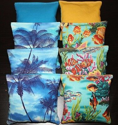 Tropical Island Paradise Cornhole Bean Bags Aca Regulation Margaritaville Sunset