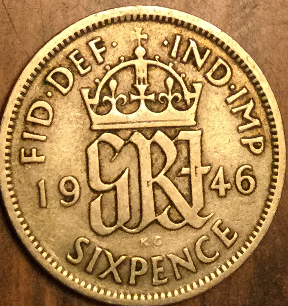 1946 UK GB GREAT BRITAIN SILVER SIXPENCE COIN