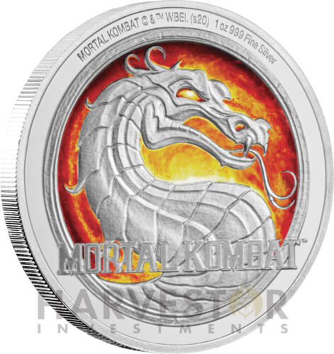 2020 MORTAL KOMBAT - 1 OZ. SILVER COIN - RETRO GAME COIN - OGP COA MINTAGE 2,020