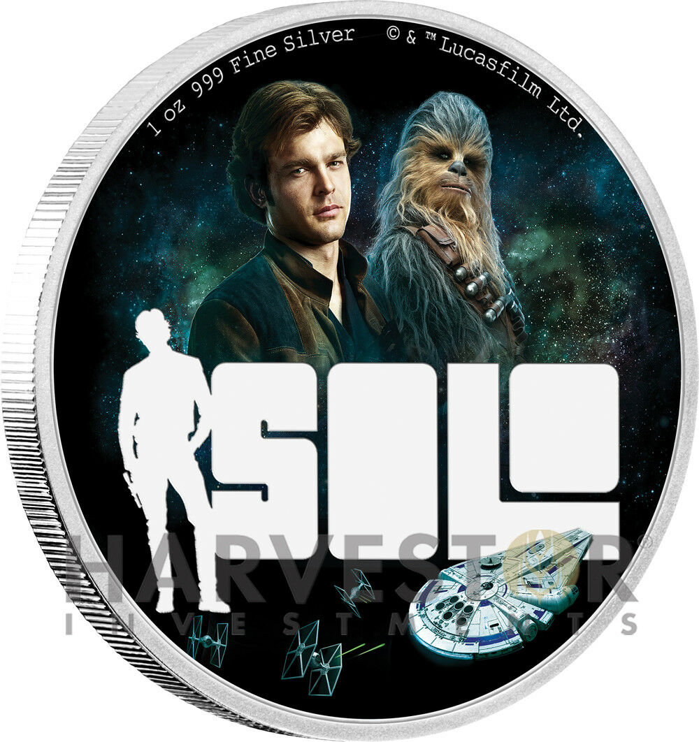 2018 STAR WARS - SOLO: A STAR WARS STORY 1 OZ. SILVER COIN - OGP COA - HAN SOLO