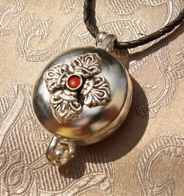 Very Beautiful Tibetan Wooden Gau Ghau ,Amulet with Dorje of Nepal Coral &